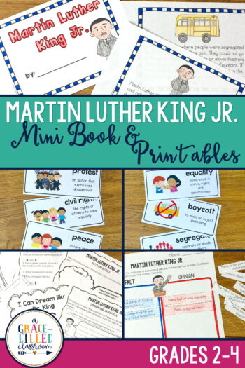How will you celebrate Martin Luther King Jr. Day? Use these vocabulary cards, mini-book and printable Martin Luther King Jr. activities with your students!