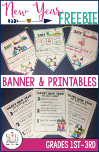 New year Freebies to set goals for the new year includes a classroom banner and printables. Your students will love setting goals this new year.