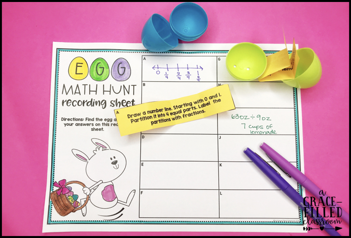 printable with the title Egg Math Hunt recording sheet with open easter eggs and a slip of paper with a math problem