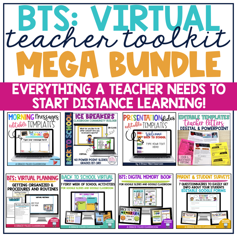 square cover with the title BTS: Virtual Teacher Toolkit Bundle. It displays the cover for 7 resources that included in the bundle.