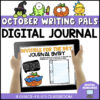 a cover of the product October Writing Pals shows a child holding an ipad with a prompt for a journal entry