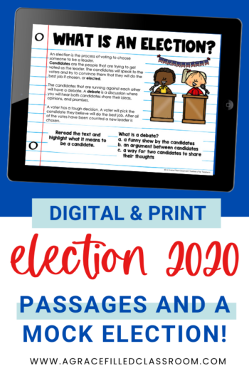 pinterest image with the election 2020 title and an ipad showing a Google slides image with the title what is an election