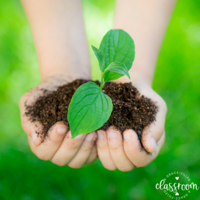 A child's hand holding a clump of dirt with a small sprout Tip #3 for Celebrating Earth Day with Kids is to plant a tree.