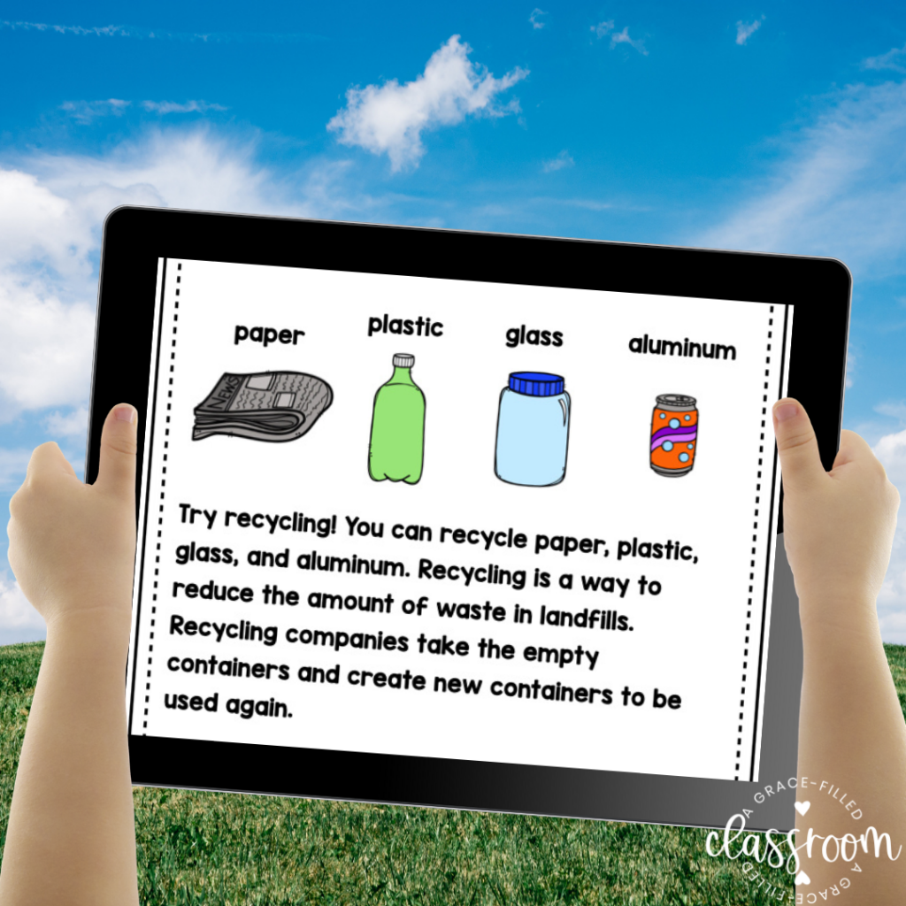 A student's hands holding up an ipad outside. the ipad has text and pictures of items to recycle such as newspaper, plastic bottles, aluminum cans. Celebrating Earth Day with Kids