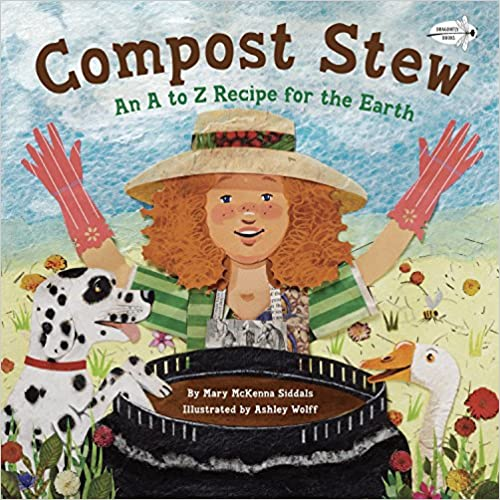 Celebrate earth day with kids by reading books, this book is titled Compost Strew