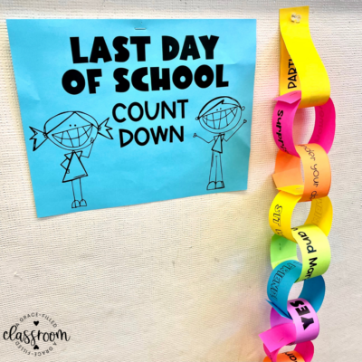 end of year countdown with a close look at a paper chain stapled to the wall
