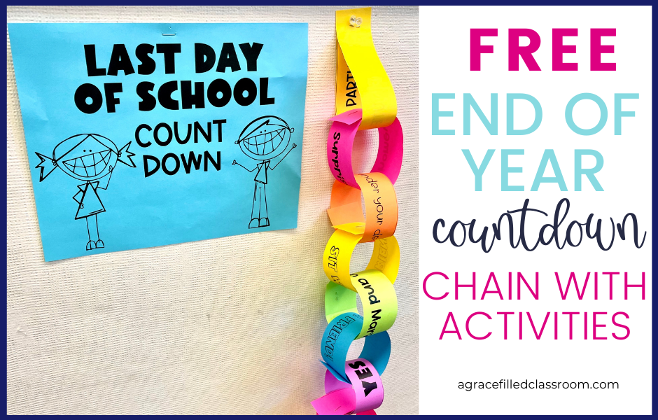 end of year countdown blog cover with a picture of an end of year paper chain