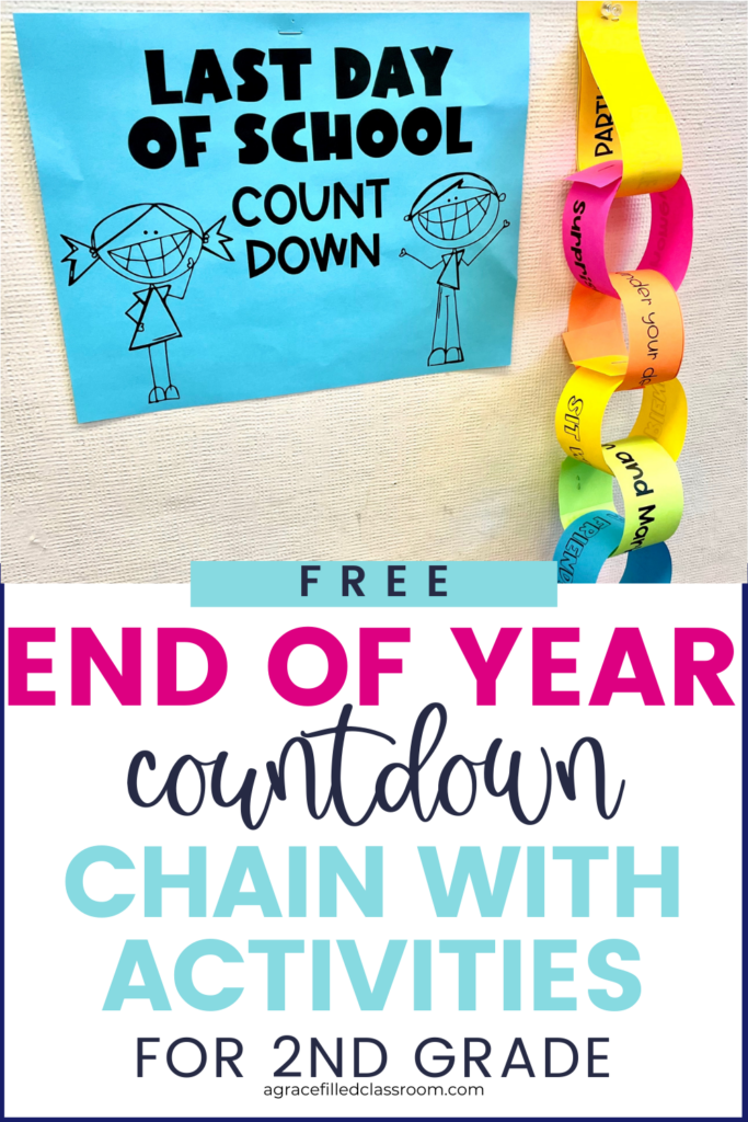 end of year countdown pin with a picture of an end of year paper chain